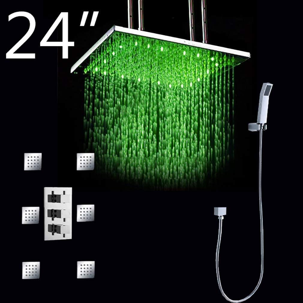 Cascada Luxury Bathroom Shower Set with Luxury Water Power LED Shower Head (Ceiling Mount) Rainfall Thermostatic 6 Massage Jets Spray Body Shower Set (24