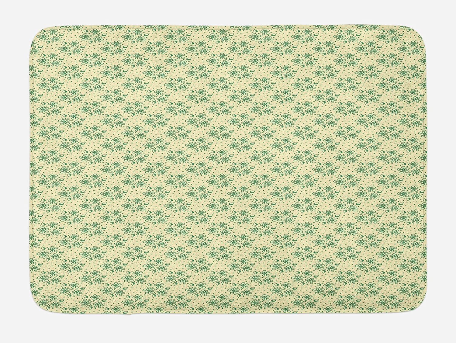 Ambesonne Leaves Bath Mat, Foliage and Flower Arrangement on a Hand Drawn Dotted Pale Background, Plush Bathroom Decor Mat with Non Slip Backing, 29.5