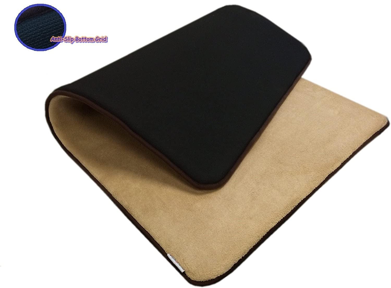 eConsumersUSA 54''x37'' MicroFleece Plush Beige Luxurious Comfort Memory Foam Waterproof Anti Slip Mat Rug Pad for Home, Kitchen, Bath, Bedroom, Pet, Activities.