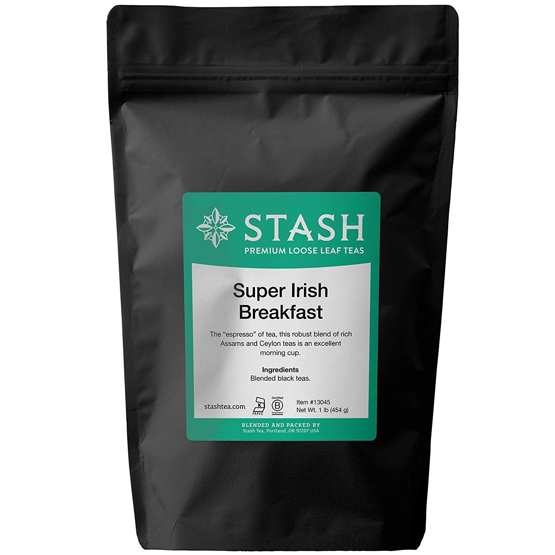Stash Tea Super Irish Breakfast Loose Leaf Tea 1 lb Pouch Loose Leaf Premium Black Tea for Use with Tea Infusers Tea Strainers or Teapots, Drink Hot or Iced, Sweetened or Plain