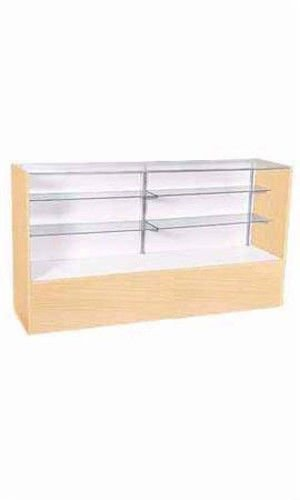 Full Vision Display Case in Maple Finish 38 H x 18 D x 48 L Inches