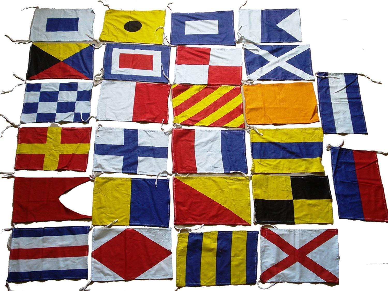 Naval Signal Flags / Flag SET- Set of Total 26 flag - Marine Code -Total 28 Flag – Nautical / Maritime / Marine / Boat / Ship / Vessel / Nautical Décor (5113)