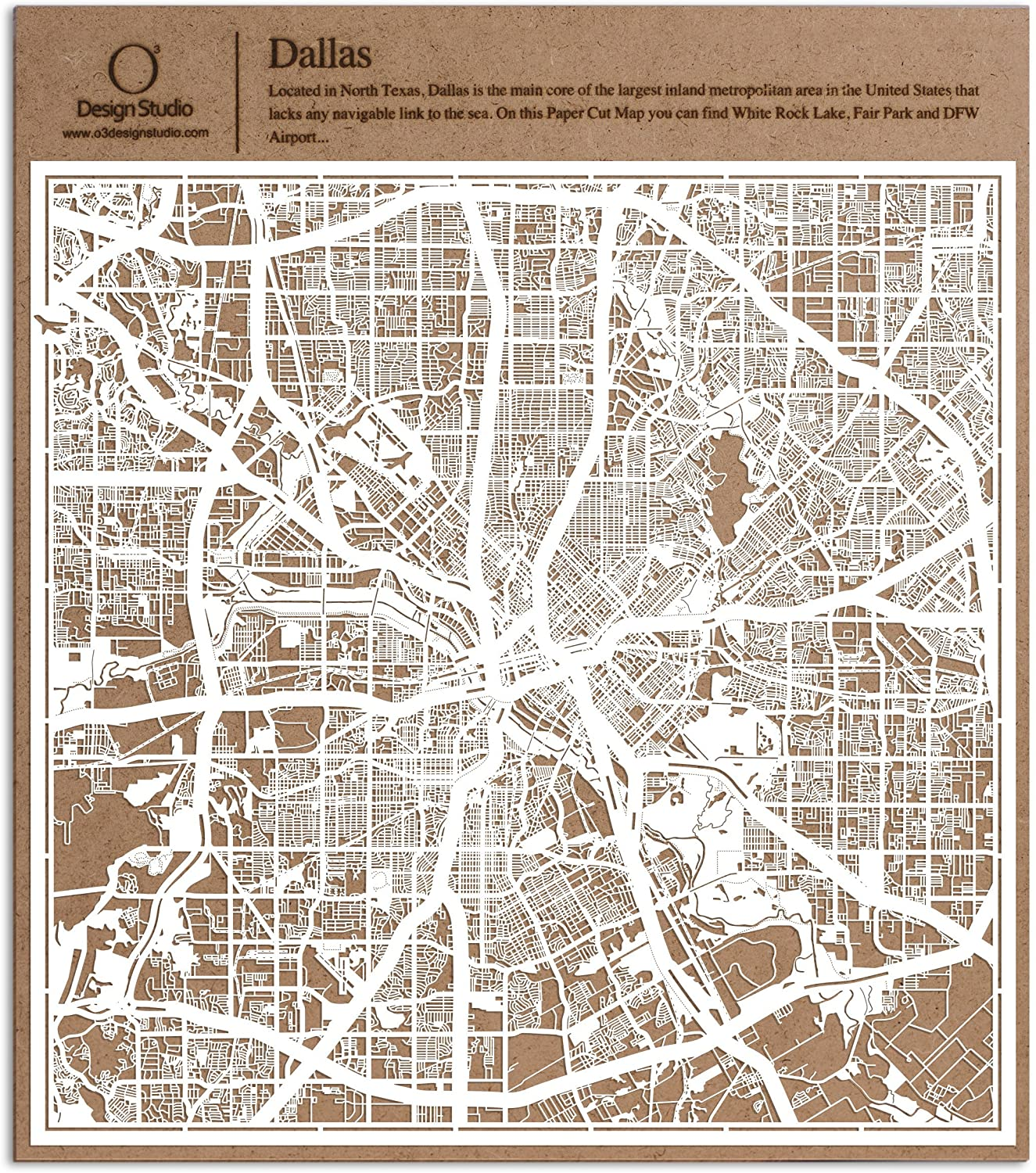 Dallas Paper Cut Map by O3 Design Studio White 12x12 inches Paper Art