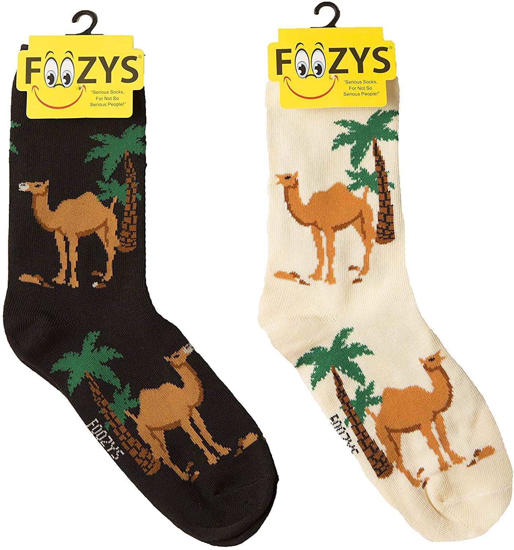Foozys Women's Crew Socks | Cute Zoo Animal Themed Novelty Socks | 2 Pairs