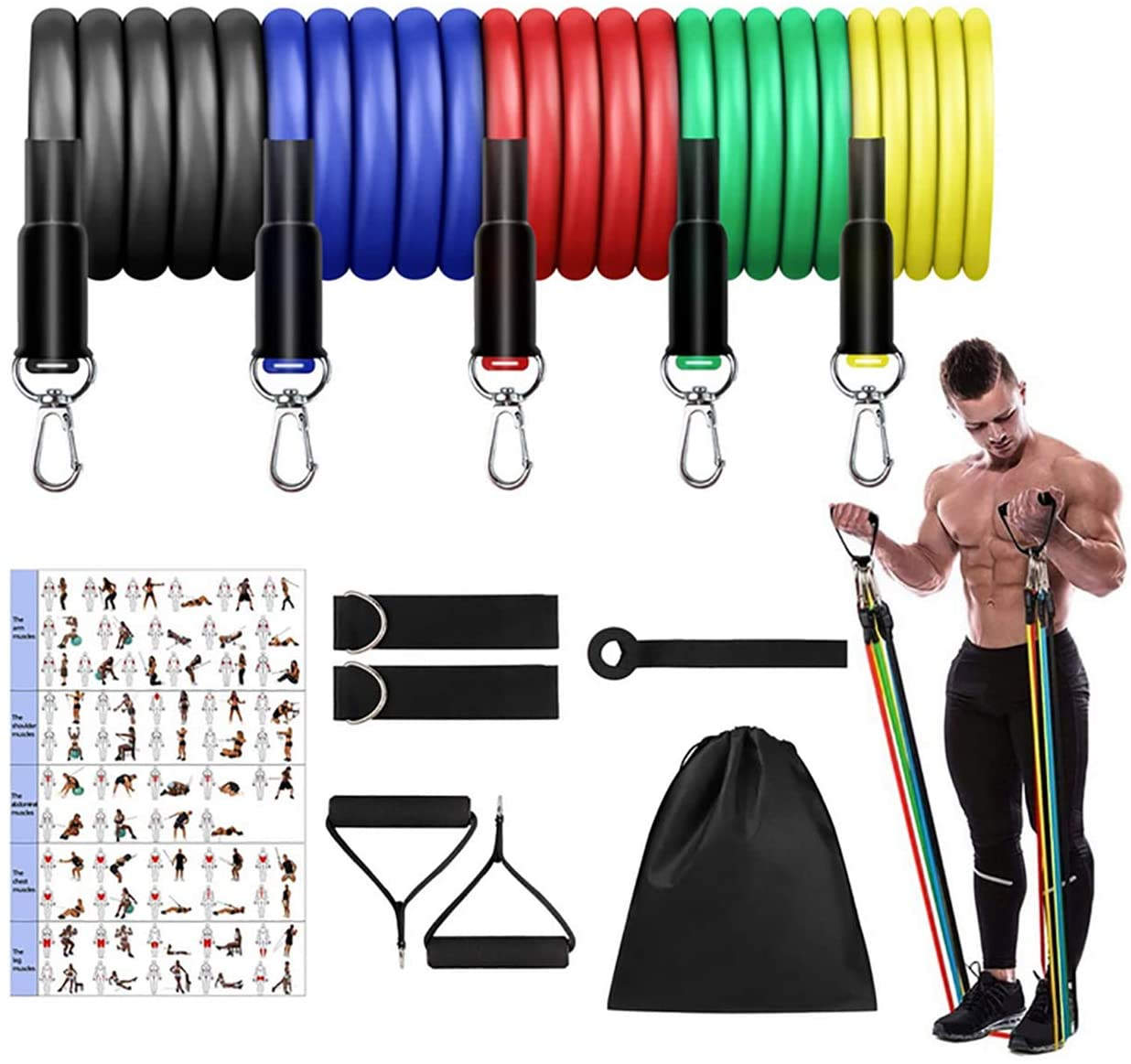 Wins Resistance Bands Set (11pcs), Exercise Bands with Door Anchor & Handles, Home Gym Equipment Men Women Legs Ankle for Resistance Training,Home Workouts,Fitness