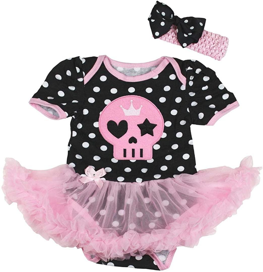 Petitebella Pink Skull Face Baby Dress Nb-18m