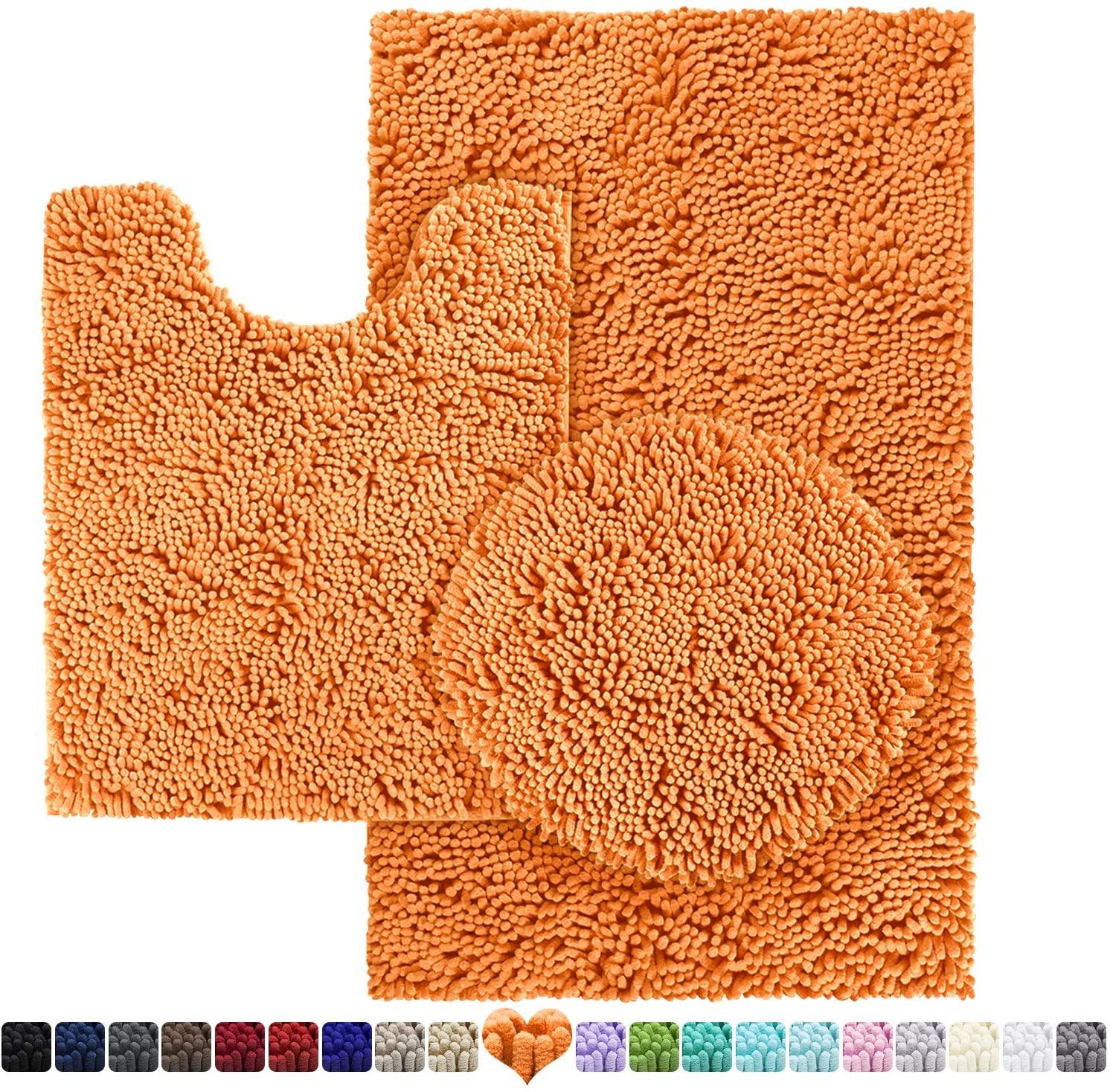 HOMEIDEAS 3 Pieces Bathroom Rugs Set Orange, Includes U-Shaped Contour Toilet Mat, Bath Mat and Shaggy Toilet Lid Cover, Machine Washable & Non Slip Bath Rugs for Bathroom, Tub, Shower