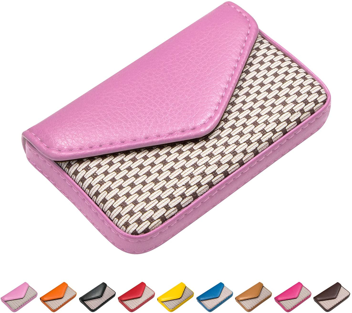 Padike Leather Business Name Card Holder Case Wallet Credit Card Book with Magnetic Shut Black (Pink)