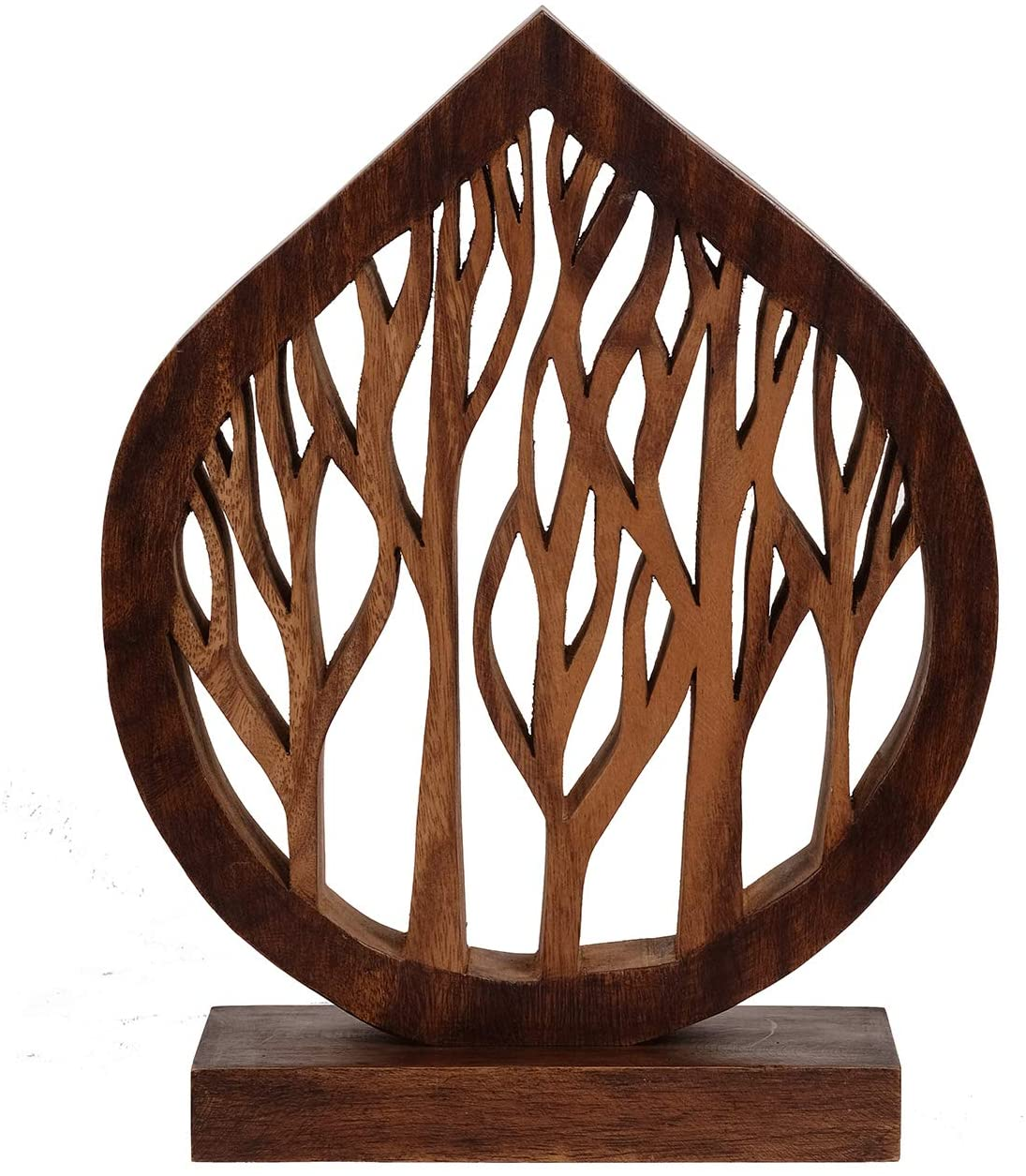 Decozen Handmade Wooden Decor Sculpture Made from Solid Wood for Shelves, Console Table Decor Centerpiece Ideal for Living Room, Family Room, Guest Room, Study Dorm Room