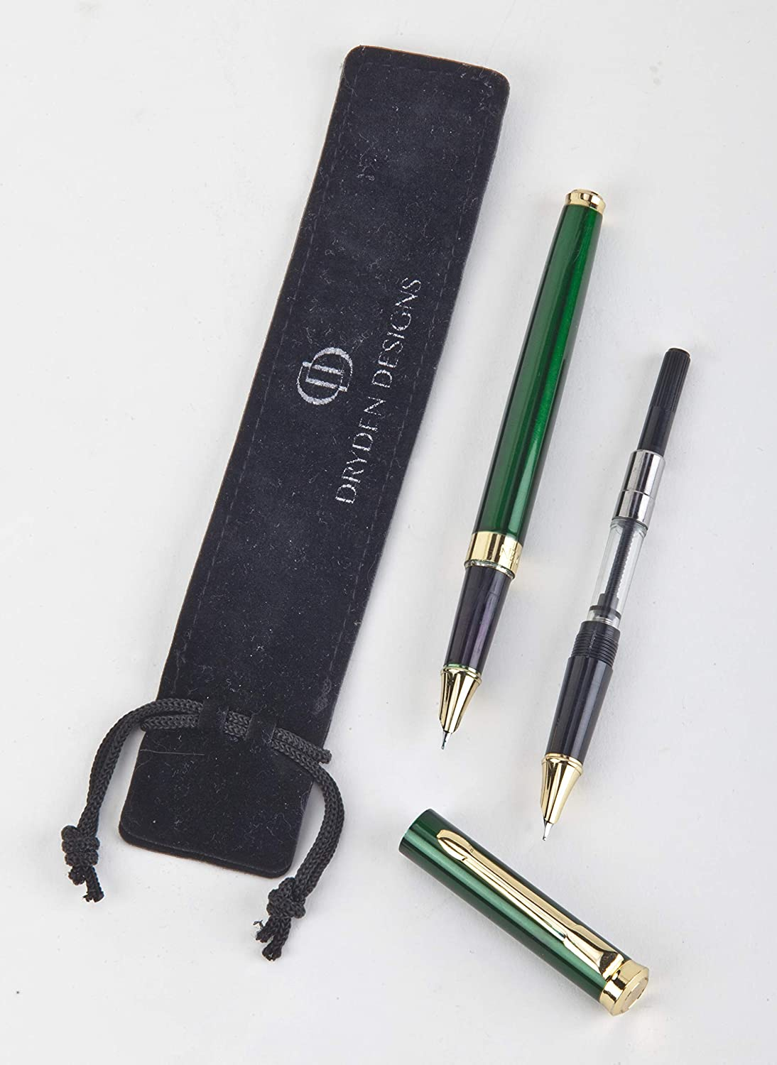 Dryden Designs Fine Nib Fountain Pen - Emerald Green - Luxury Fountain Pens Collection - Consistent Ink Flow - Included two Ink Converter and two Fine Nibs