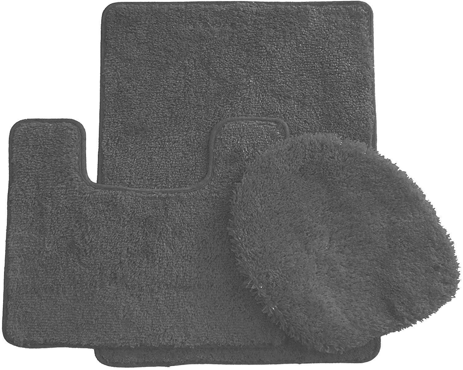 BH Home & Linen 3 Piece Luxurious Ultra Spa Solid Colors Bath Rug Set Made with 100% Polypropylene. (Gray)