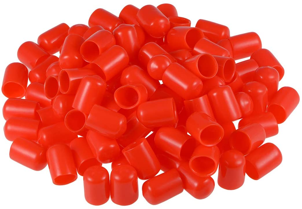 uxcell 100pcs Rubber End Caps 12mm ID Round End Cap Cover Screw Thread Protectors Red