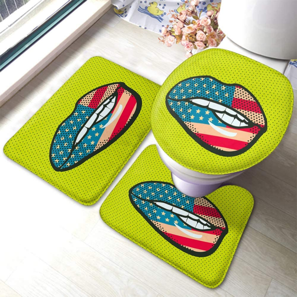 Swono Lip Bathmat,Abstract Lip with National Flag America in Pop Art Style 3 Piece Bathroom Rug Mat for Hotel Spa Bathroom Floor Mats Rubber Set-Non Slip Toilet Mat Lid Cover
