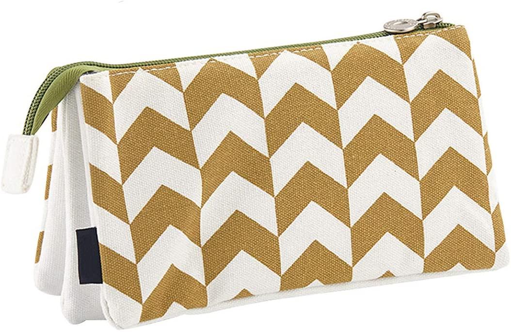 Oyachic Large Capacity Pencil Pen Case 3 Layers Stationery Pouch Zipper Cosmetic Bag Canvas Makeup Organizer Handbag Clutch