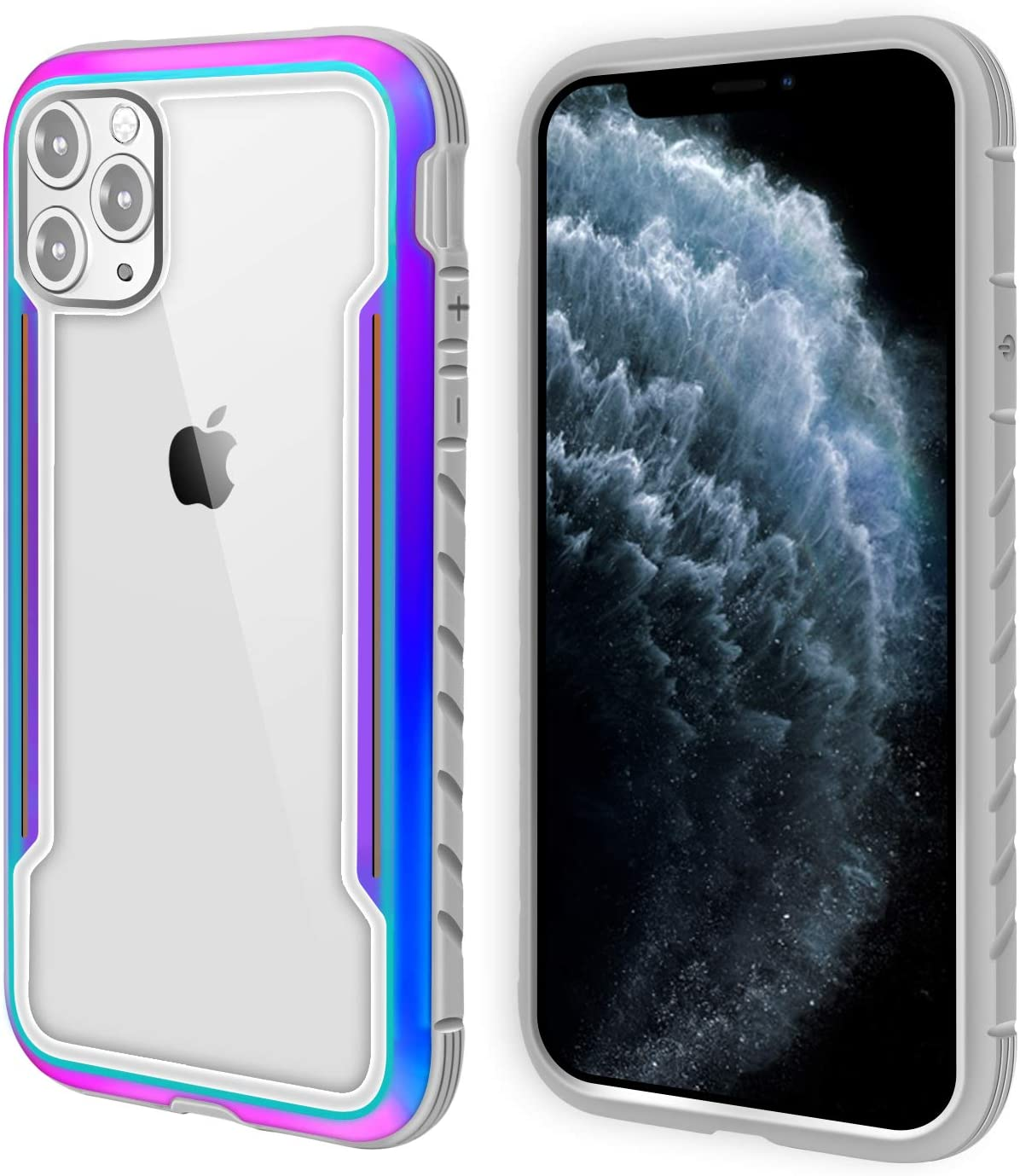 AFARER iPhone 11 Pro Max Case,Military Grade Drop Test,Aluminum Metal Frame with Elastic Soft TPU Rubber and Transparent PC Back Cover,Support Wireless Charging for iPhone 11 Pro Max 6.5 inch Rainbow