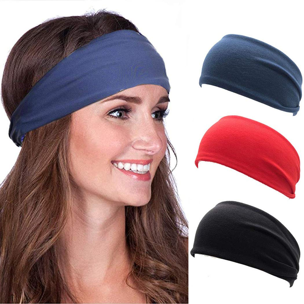 Nicute Sport Cotton Headbands Black Stretch Head Wraps Yoga Wide Hair Bands for Women and Men(Pack of 3)