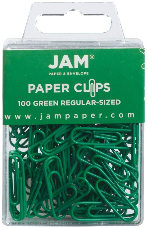 JAM PAPER Colorful Standard Paper Clips - Regular 1 Inch - Green Paperclips - 100/Pack