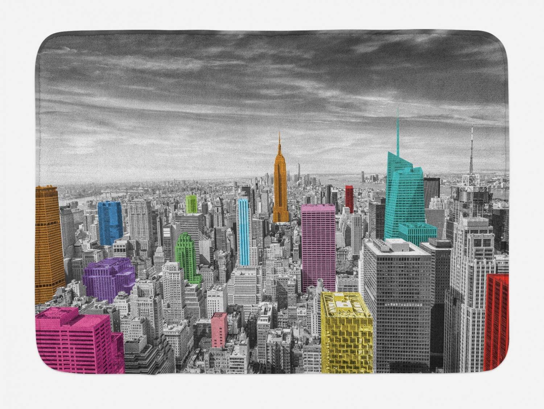 Ambesonne New York Bath Mat, NYC Cityscape Monochrome Photograph Colorful Buildings Urban Architecture, Plush Bathroom Decor Mat with Non Slip Backing, 29.5