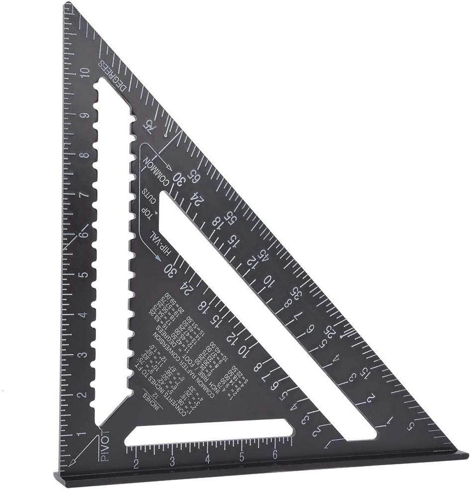 Triangle Ruler,12 inch Black Aluminium Right Angle Triangle Ruler Rustproof Protractor Carpentry Tool (Aluminum Profile)