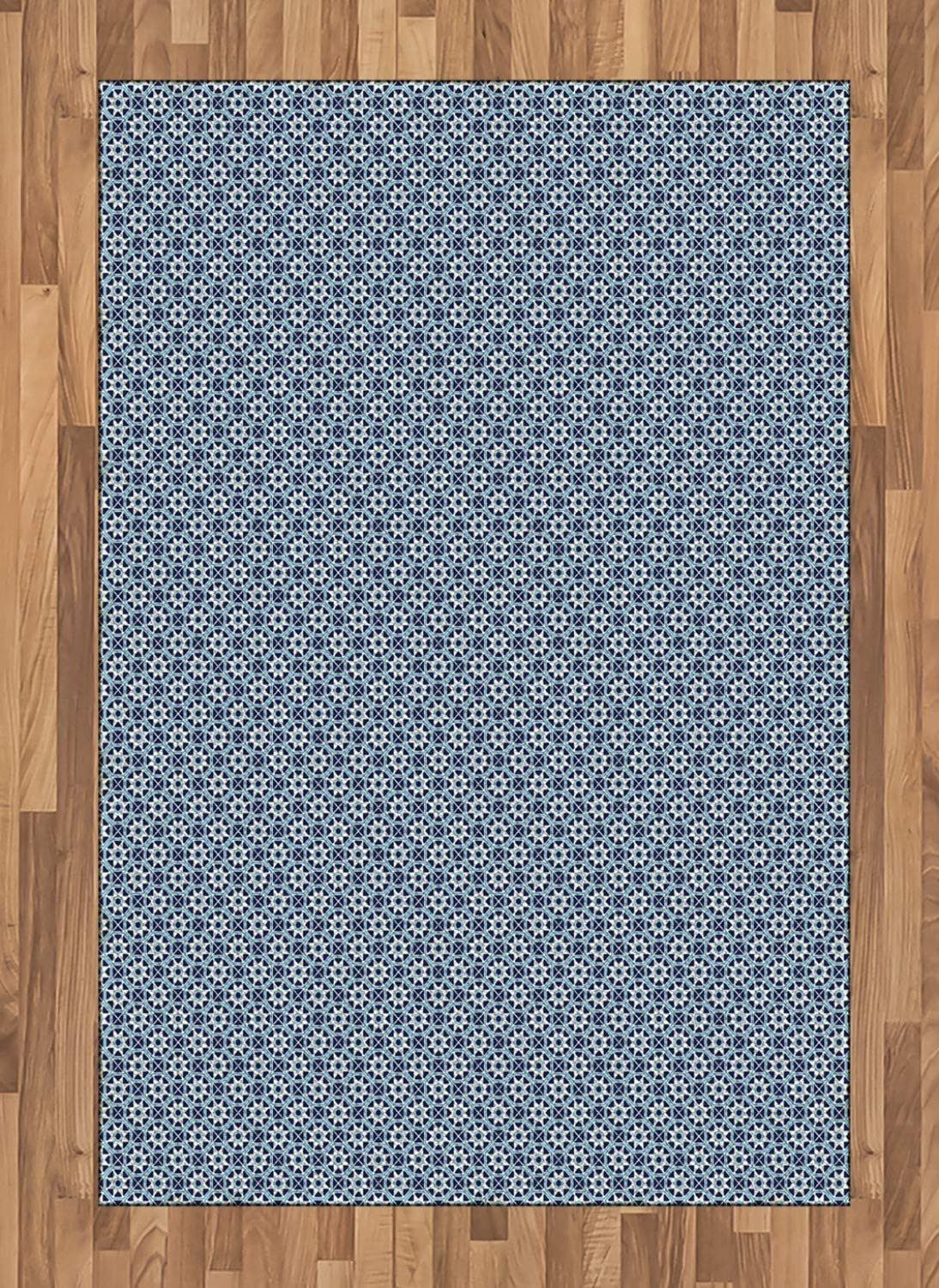 Ambesonne Stars Area Rug, Shapes with Octagons and Squares Moroccan Inspirations, Flat Woven Accent Rug for Living Room Bedroom Dining Room, 4' X 5.7', Dark Blue Beige and Aqua