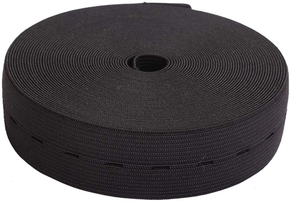 MYUREN 1-1/5 Inch by 10 Yard Buttonhole Knit Stretch Elastic Bands Spool Flat Elastic Belt