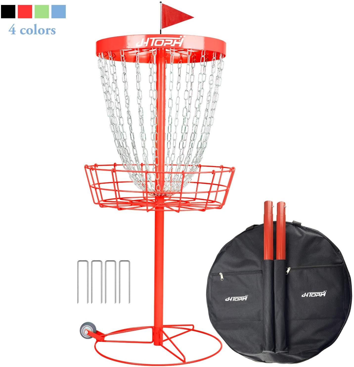 N-A JHTOPJH Disc Basket Portable Disc Golf Basket Metal Disc Golf Target Catches Discs Golf Goals Baskets Practice Sets, Wheels and Carrying Bag