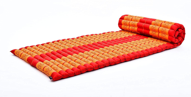 Leewadee Roll-Up Thai Mattress, 79x30x2 inches, Guest Bed Yoga Floor Mat Thai Massage Pad Eco-Friendly Organic and Natural, Kapok, Orange red