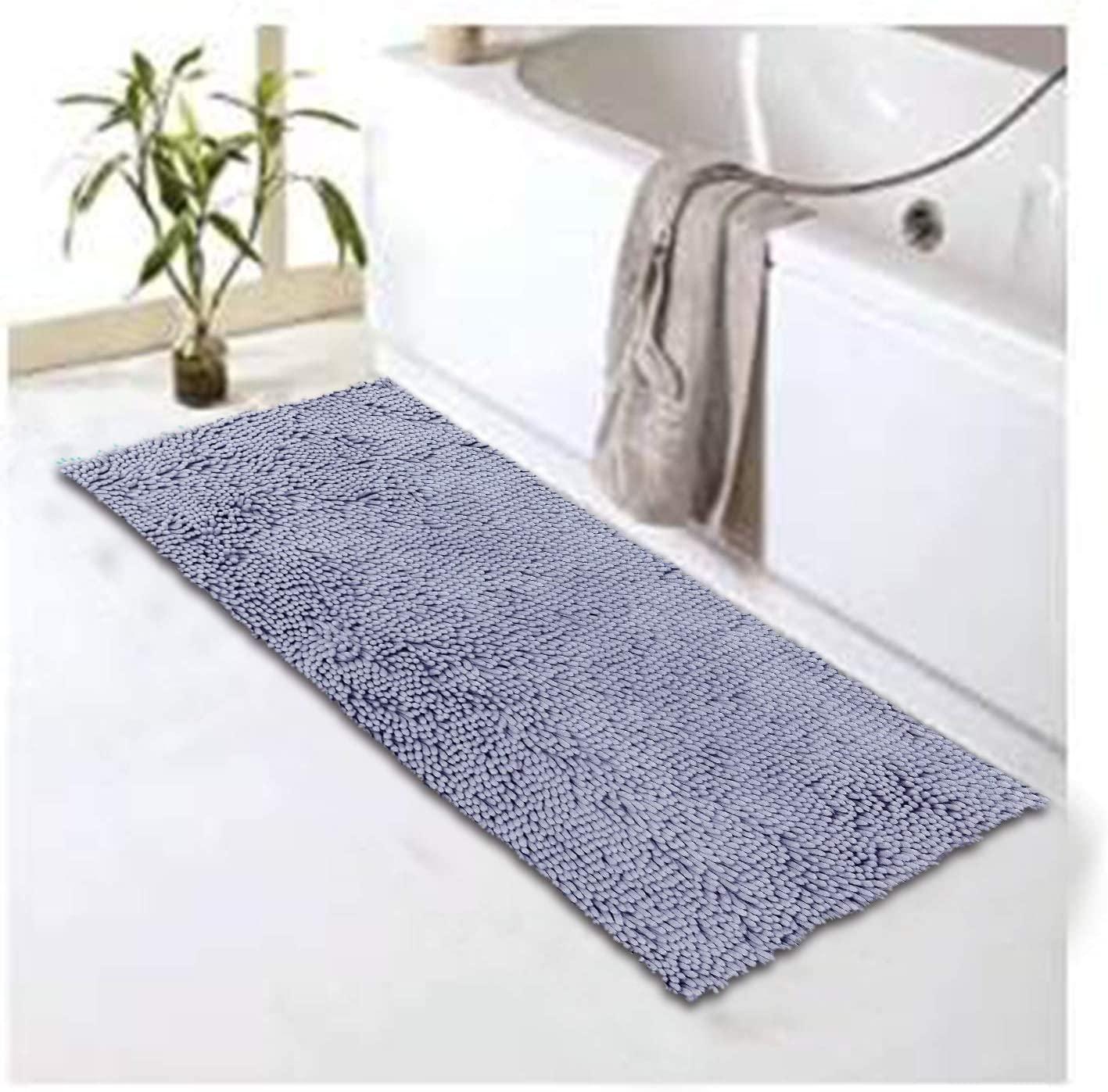 Bathroom Runner Rug Mat 27.5 x 47 Grey Chenille Bath Mat Runner Super Absorbent Bath Rug Machine Washable Perfect Plush Carpet for Shower, Bath Room, Bedroom and Kitchen (27.5 x 47, Grey)