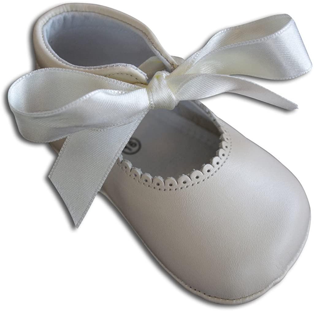 Baby Girls Dressy Crib Shoes - Leather w/Satin Ribbon