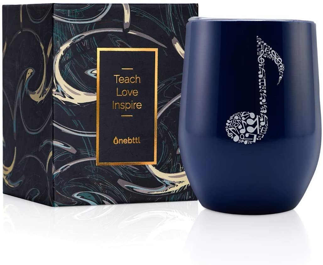 12oz Stainless Steel Wine Coffee Tumbler/Cup/Mug with Lid, Card & Box for Women/Men, for Music/Piano/Guitar Teachers