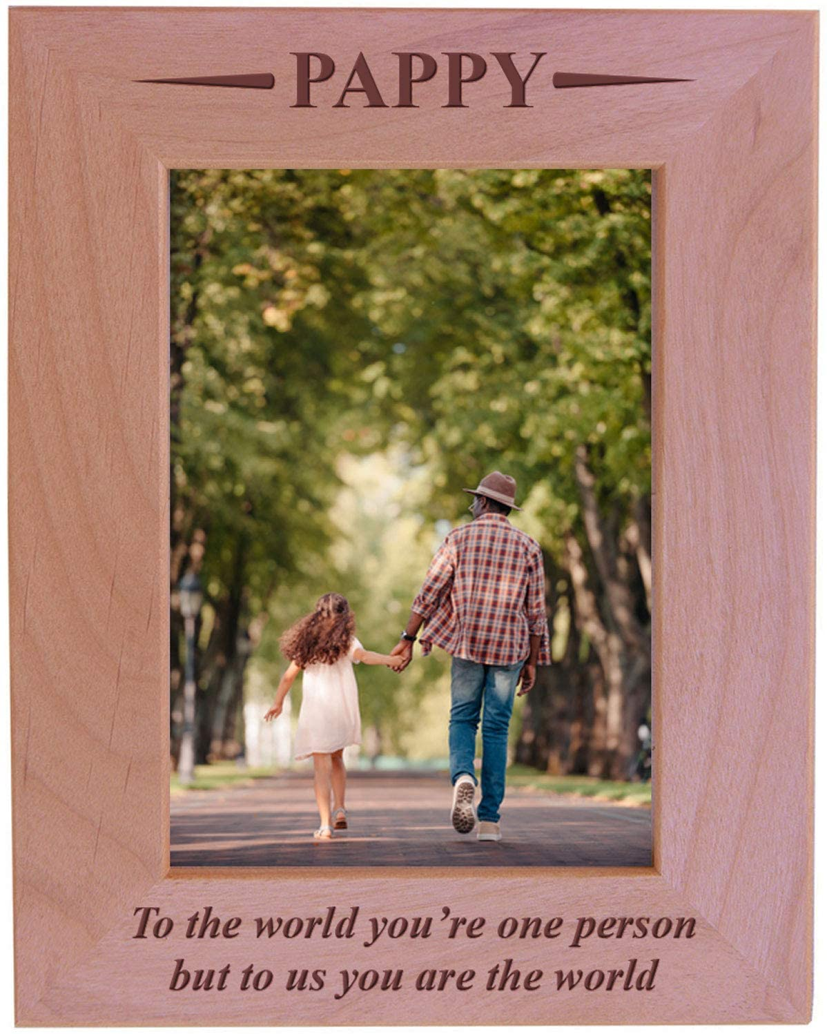 CustomGiftsNow Pappy - to The World You're one Person but to us You are The World - Engraved Wood Picture Frame (5x7 Vertical)