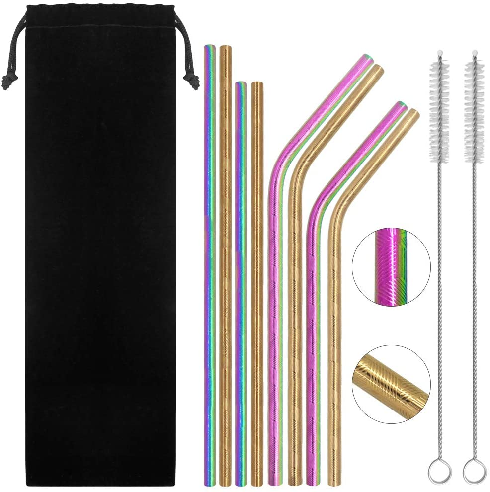 SENHAI Set of 8 Stripe Stainless Steel Drinking Straws, Reusable Metal Bent and Straight Straws for 20oz 30oz Tumbler Yeti Rambler RTIC Ozark Trail, with 2 Cleaning Brushes - Colorful, Rose Gold