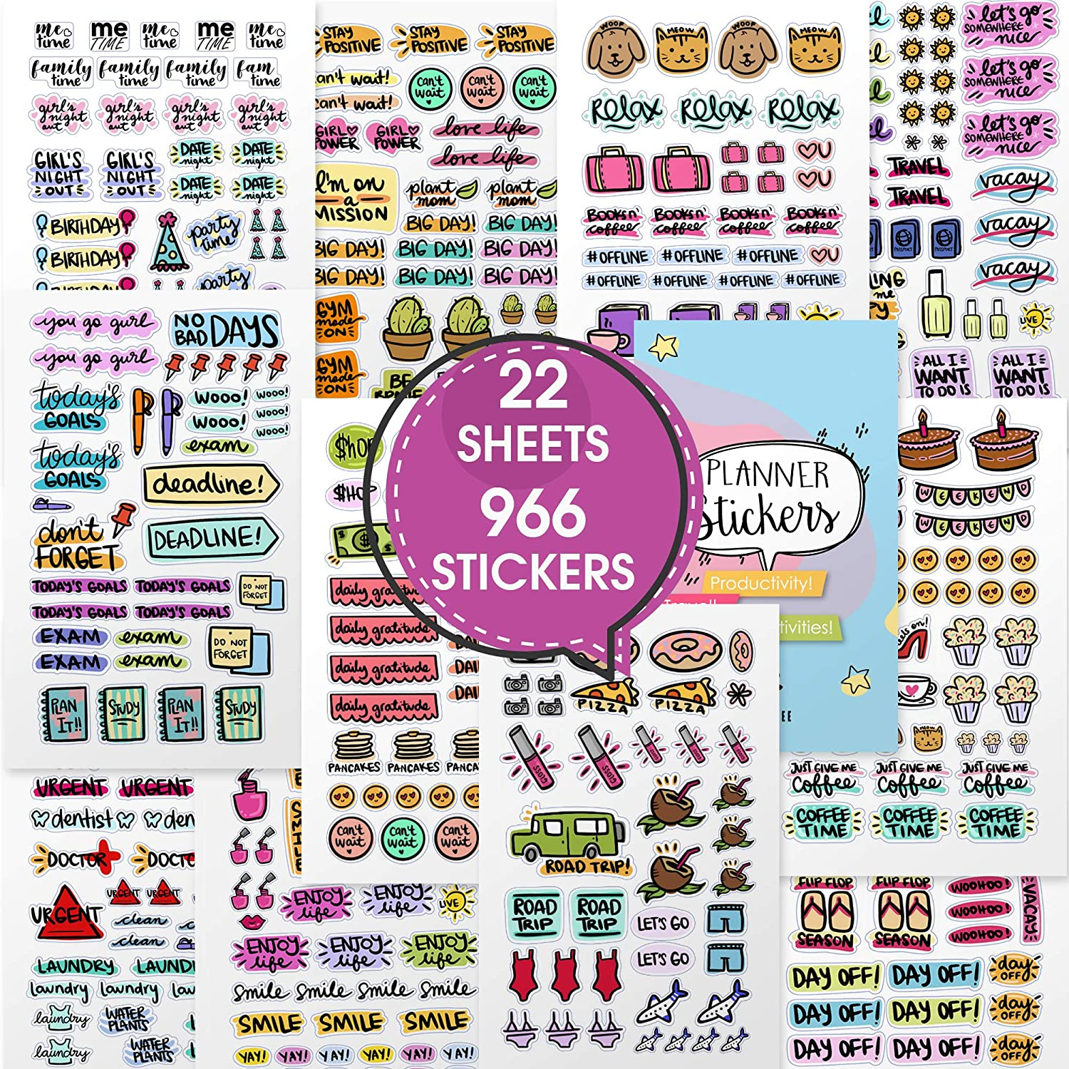 Stunning Planner Stickers - Variety & Value Pack of 966 Beautiful Stickers and Accessories Designed to Complement Your Planner, Journal and Calendar in 2020 by Savvy Bee (Doodly Pack)