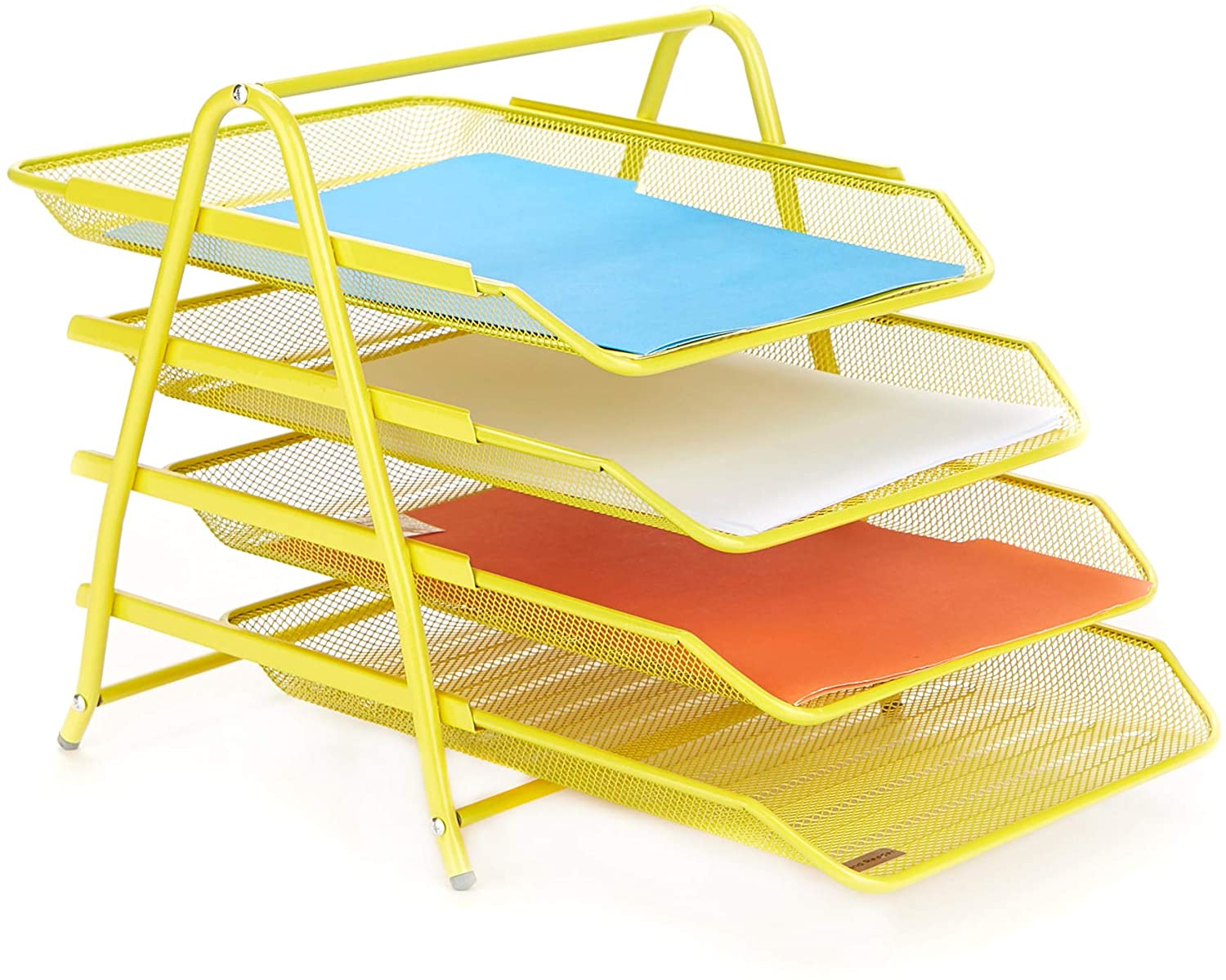 Mind Reader 4TPAPER-YLW 4 Tier Letter Tray Pull Out Drawer Organizer, Folders, Files, Documents, Mail, Yellow