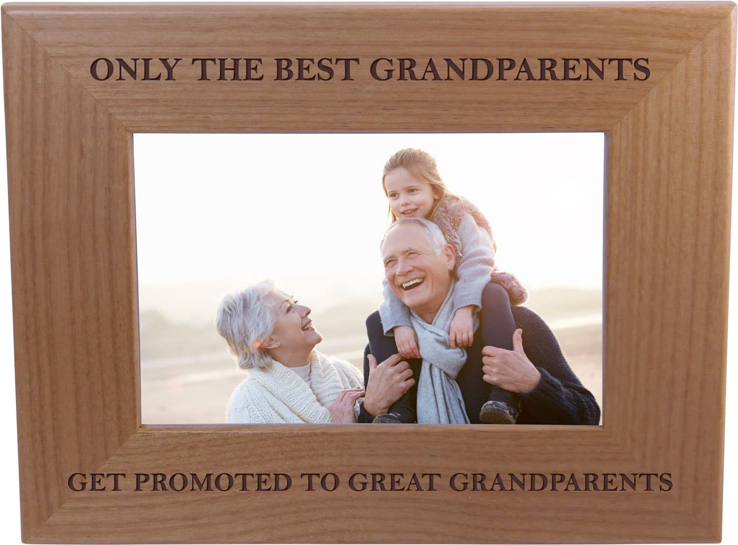 CustomGiftsNow Only The Best Grandparents Get Promoted to Great Grandparents - Wood Picture Frame Holds 4x6 Inch Photo - Great Christmas, Father's Day, for Parents (4x6-inch Horizontal)