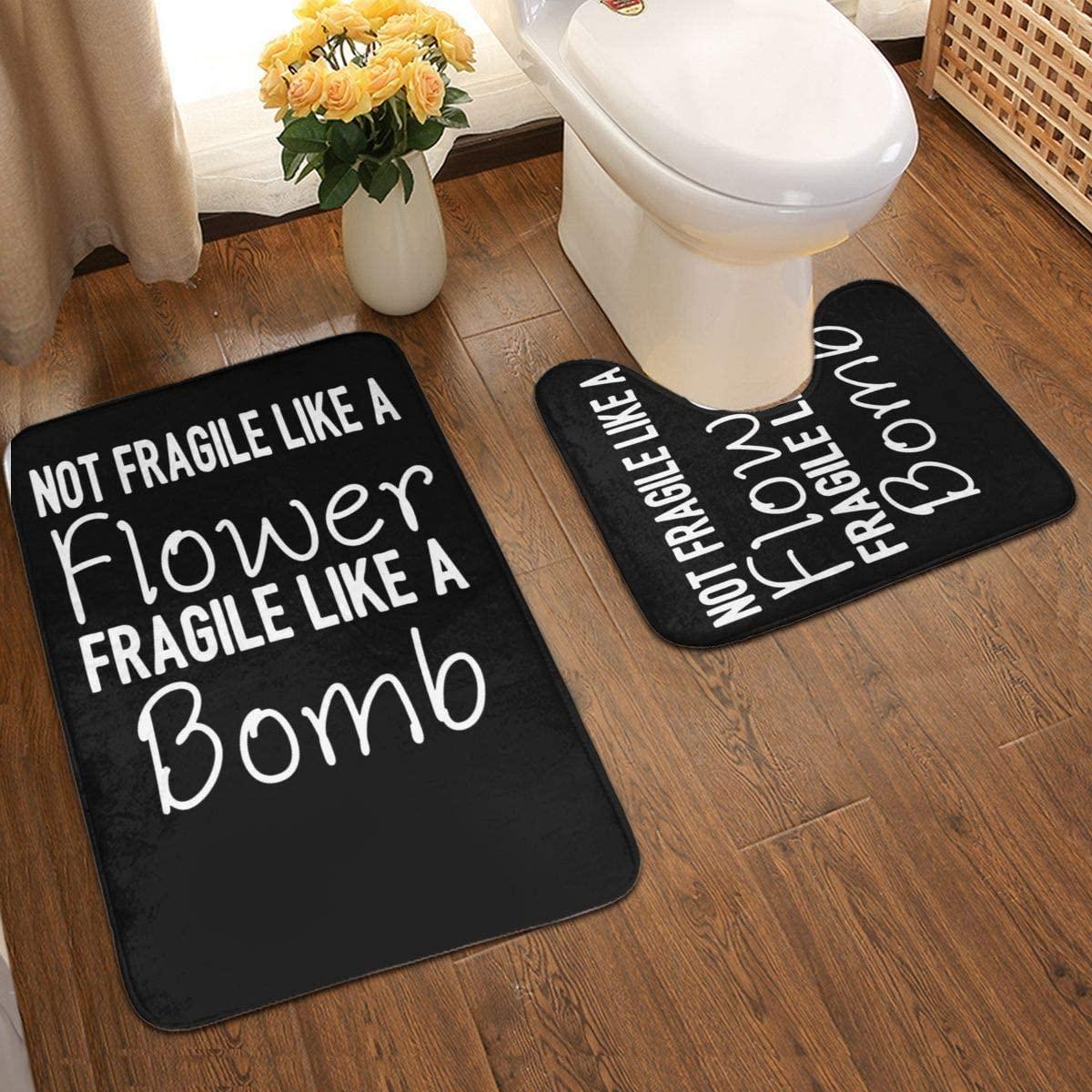 Not Fragile Like a Flower Bathroom Antiskid Pad Non-Slip Bath Carpet Floor Mat Rug 2 Sets -Floor Mat+U-Shaped Pad, Toilet Washable Blanket Mats for Bathroom Home Shower