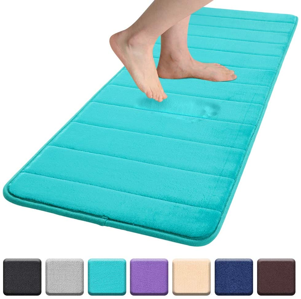 Colorxy Memory Foam Bath Mat - Soft & Absorbent Bathroom Rugs Non Slip Large Bath Rug Runner for Kitchen Bathroom Floors 24
