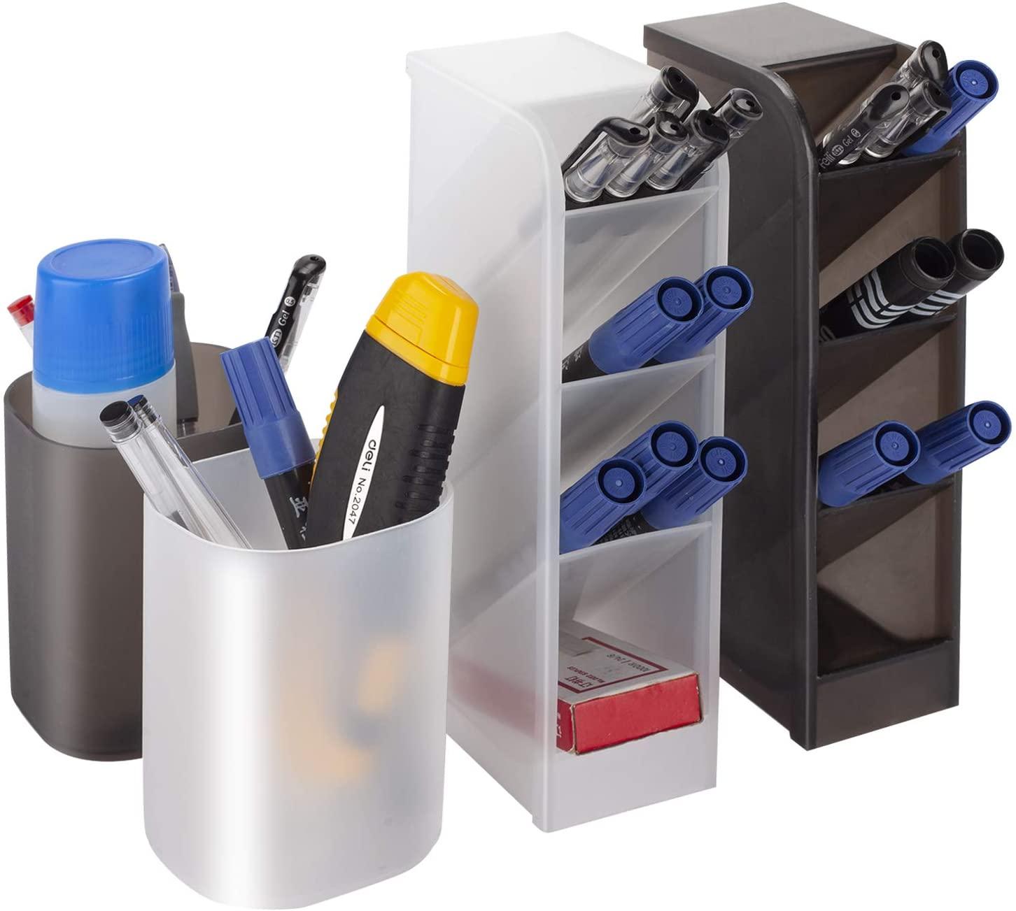 Xueheng 2Pcs Desk Organizer 2Pcs Pen Holder for Office, School, Home Supplies, Pen Makeup Brushes Pencil Storage (Black & White)