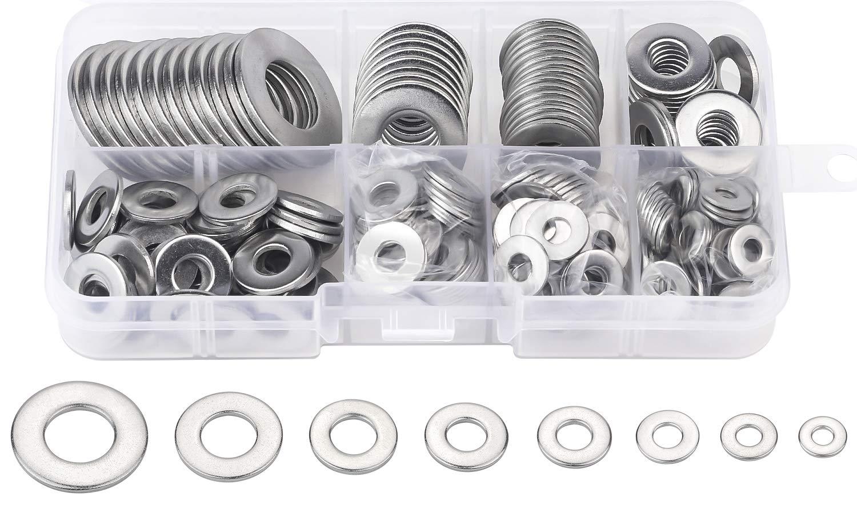 DYWISHKEY 268PCS 8 Sizes Flat Washers Assortment Kit, 1/2 3/8 5/16 1/4 12# 10# 8# 6#, 304 Stainless Steel