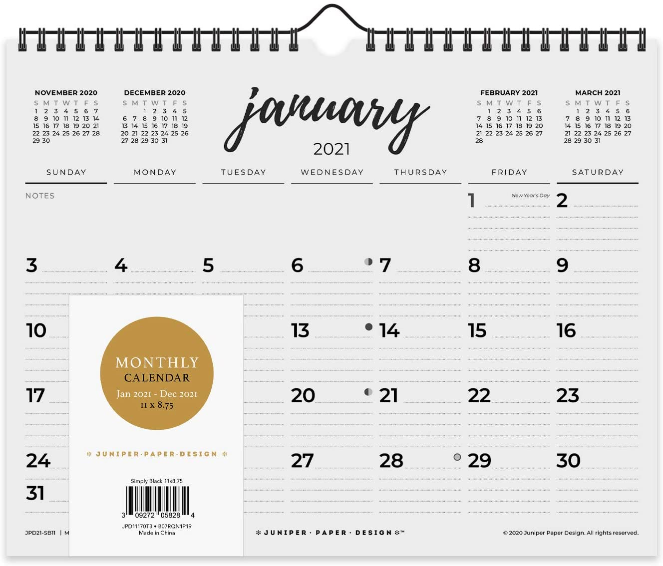 2021 Monthly Wall Calendar Desk Black & White Calendar January 2021 to December 2021, 11 x 8.75 Inches with Back Support to Keep It Flat - Simply Black