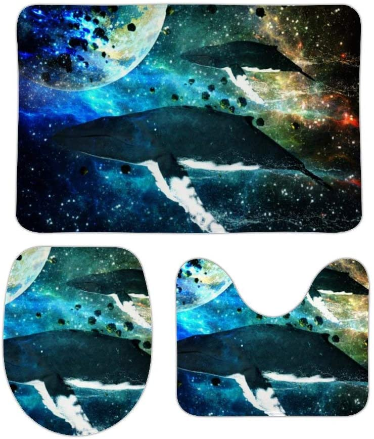 Cosmic_Whales Bath Mat 3 Piece Set Non-Slip Bathroom Rugs Absorbent Floor Doormats Soft U-Shaped Toilet Lid Cover Contour Rug Indoor 20x31 in