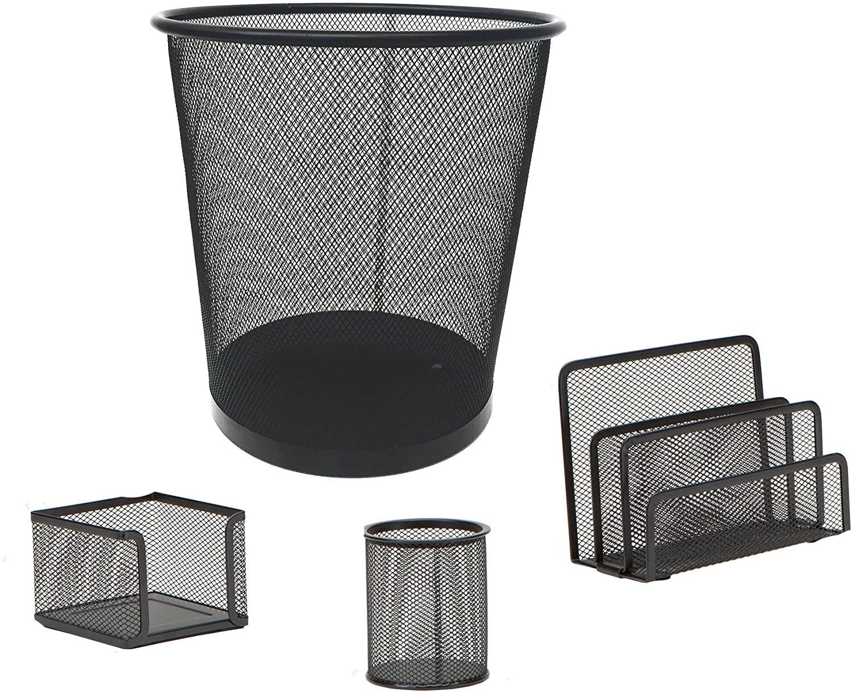 Mind Reader 4 Piece Desk Organizer Set, Pencil Holder, Letter Tray, Supply Organizer with Trash Can