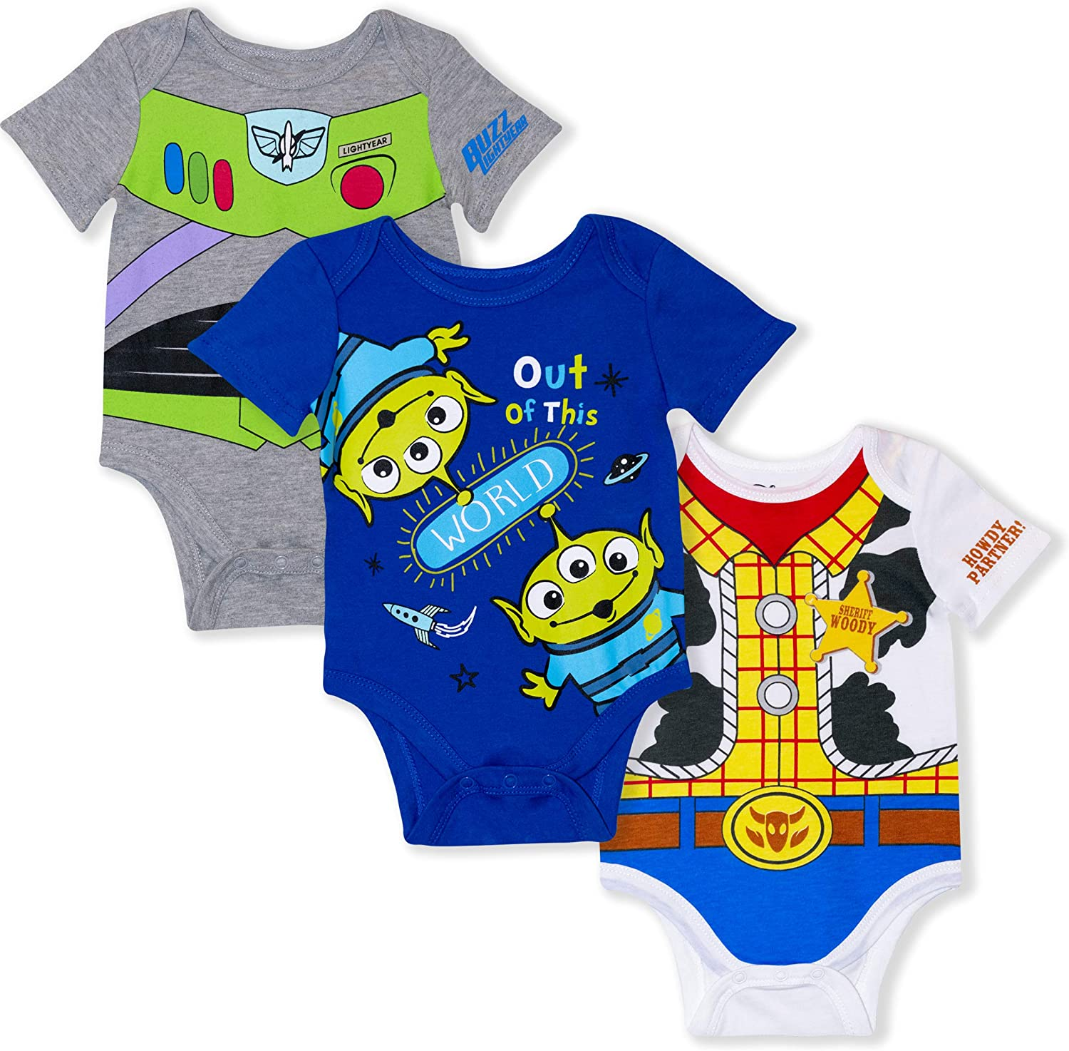 Disney 3-Pack Toy Story Infant Baby Boy Onesies with Woody, Buzz, Aliens
