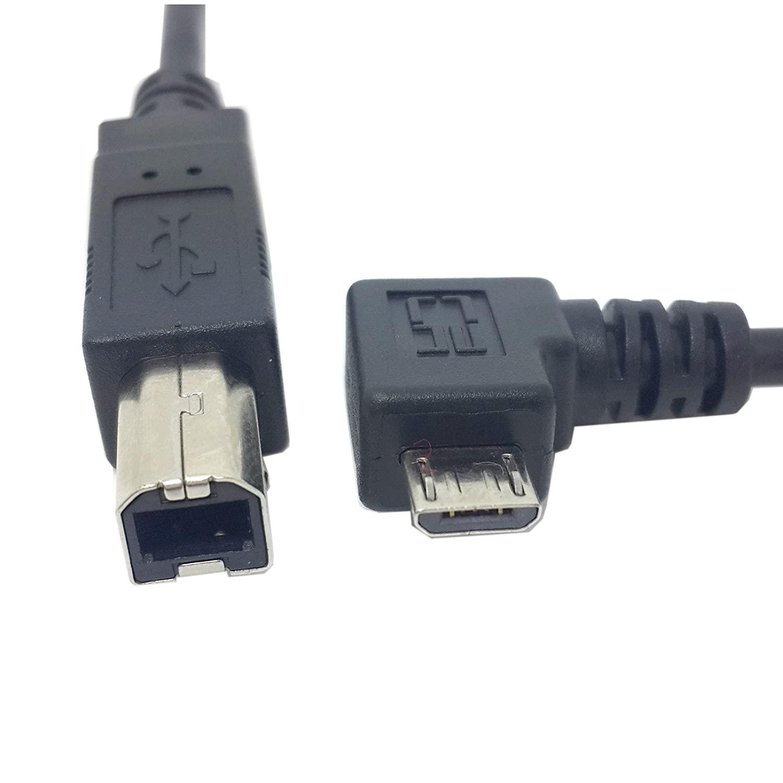 JSER Left Angled 90 Degree Micro USB OTG to Standard B Type Printer Scanner Hard Disk Cable 60cm