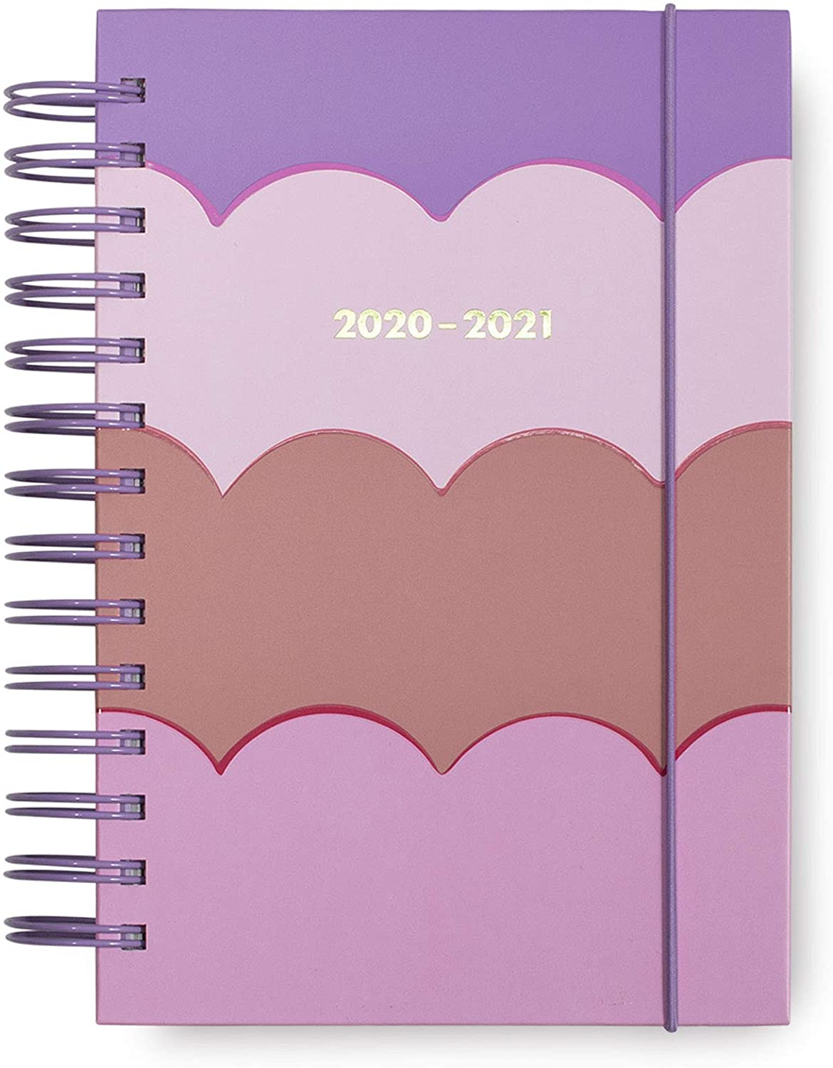 Kate Spade New York Medium 2020-2021 Planner Weekly & Monthly, 17 Month Hardcover Planner Dated Aug 2020 - Dec 2021 with Stickers, Pocket, Tab Dividers, Notes/Holiday Pages, Scallop (Pink/Purple)