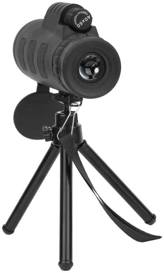 Mugast Monocular Telescope, 40x60 Single-Tube Telescope Monocular Waterproof High Definition Telescope Green Film Lens with Tripod for Outdoor Observation