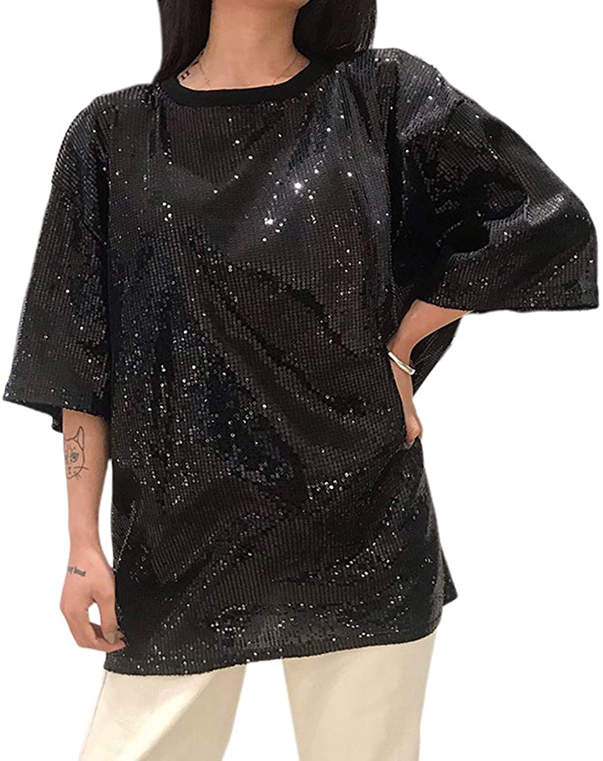 Mocure Glitter Holographic T Shirt Round Neck Top Rave Festival Blouse for Women