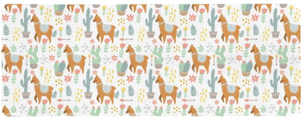 InterestPrint Soft Extra Extended Large Gaming Mouse Pad with Stitched Edges, Desk Pad Keyboard Mat, Non-Slip Base for Office & Home, 31.5 x 12In - Hippie Alpaca Llama with Cactus and Flowers