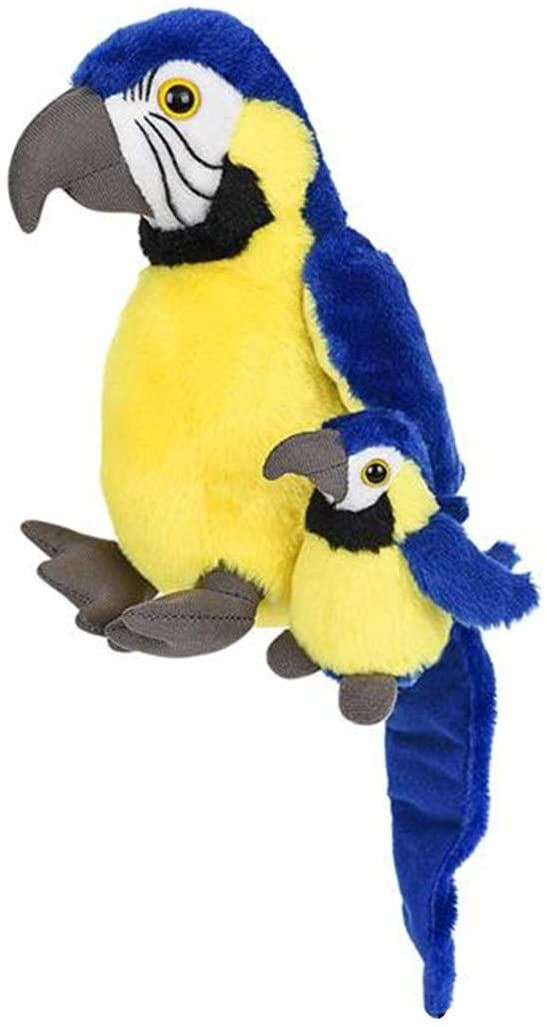 Mom and Baby Mini Stuffed Animals for Boys and Girls, Safari Baby Shower Decorations, Nursery Decor, Zoo Animals for Toddlers, Realistic Toys, Soft, Huggable and Squeezable (Macaw)