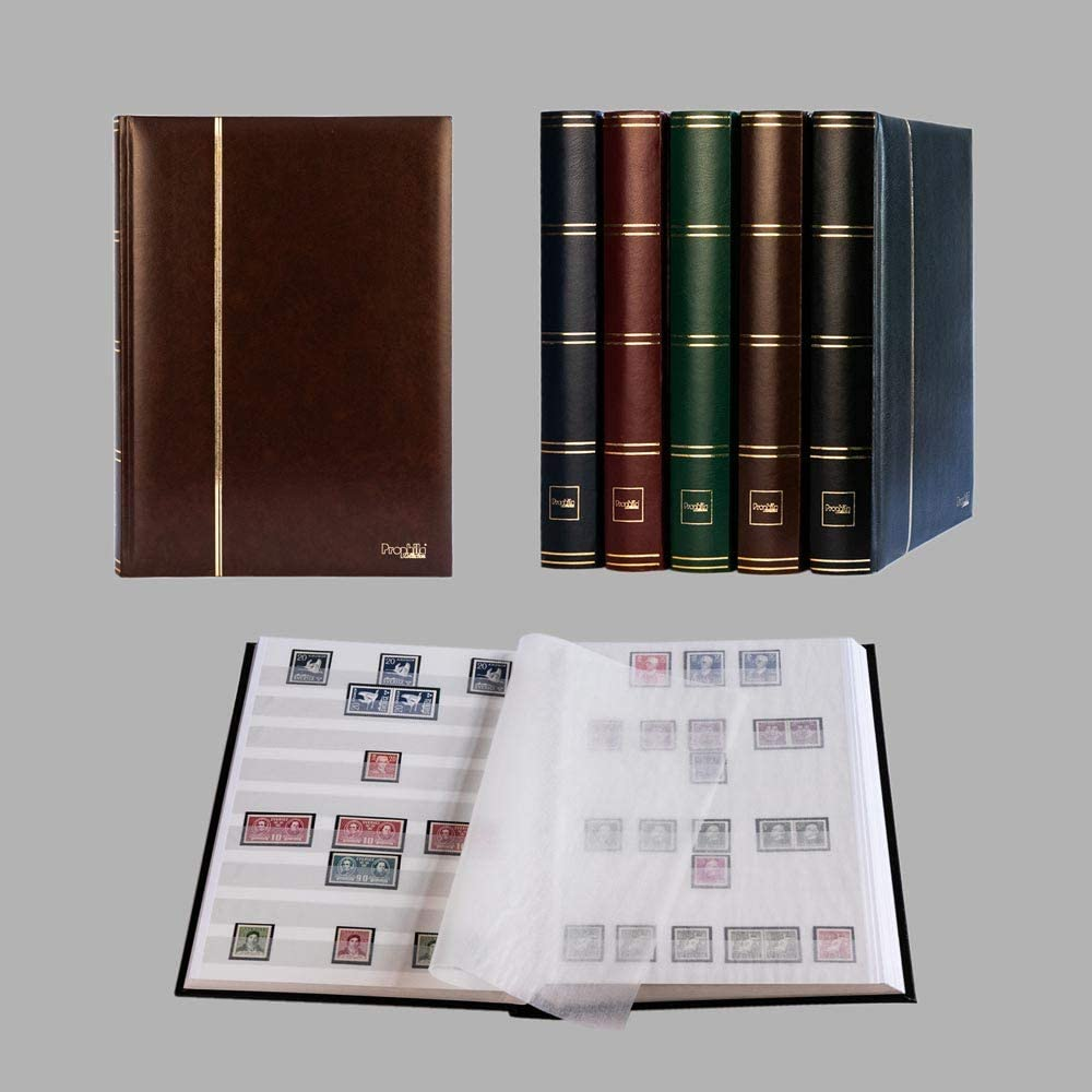 Prophila Lighthouse stockbook Stamp Album (New) 60 White Sides, Padded Brown Cover